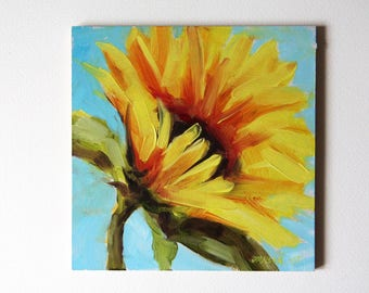 Sunflower painting, original flowers painting, oil painting