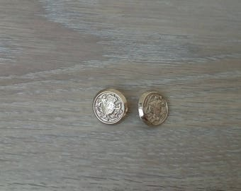 Set of 2 engraved metal buttons