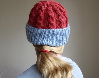 Knit Alpaca Hat Beanie in Red with Blue