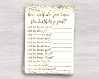 How well do you know the birthday girl, Girl Birthday party game, Birthday Quiz, Activity, Activities, Fun, Gold Birthday party ideas,