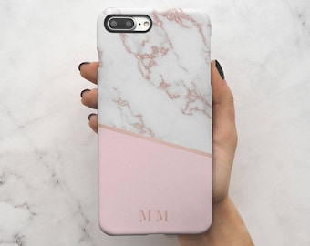 Personalized Rose Gold Marble Initials Custom Letters Protective Hard Case Cover For iPhone 7 iPhone 8 & Samsung | C29