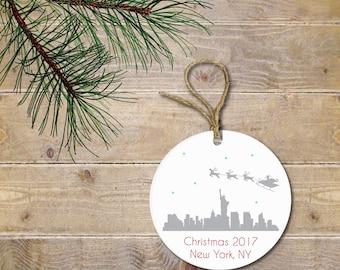 New York City Christmas Ornament, NYC Christmas Ornament, Santa, Reindeer, Personalized Christmas Ornament, Christmas Ornaments, New York
