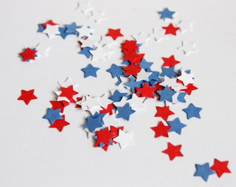 Patriotic stars confetti - 4th of july decor in blue, red, white - military wedding table decor - die cut - Scrapbooking stars paper punch