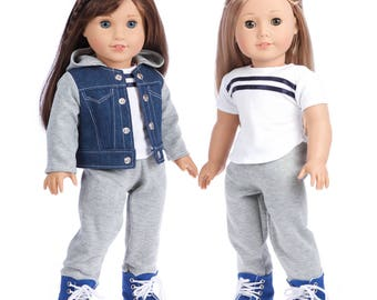 Tomboy - Doll Clothes for 18 inch American Girl Dolls - 4 Piece Doll Outfit- Jeans Jacket, Grey Sweatpants, T-shirt and Blue Boots