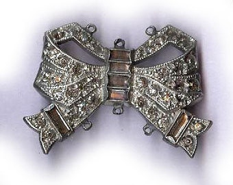 vintage ART DECO rhinestone BOW connector necklace centerpiece rare rhinestone finding bridal finding fancy connector