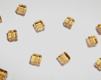 10 cube beads 4 x 4 mm Crystal Golden beige color