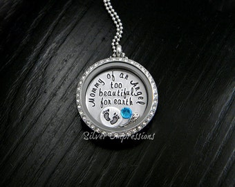 Floating Locket /  Memory Locket / Mommy of an Angel too beautiful for earth / Remembrance Jewelry