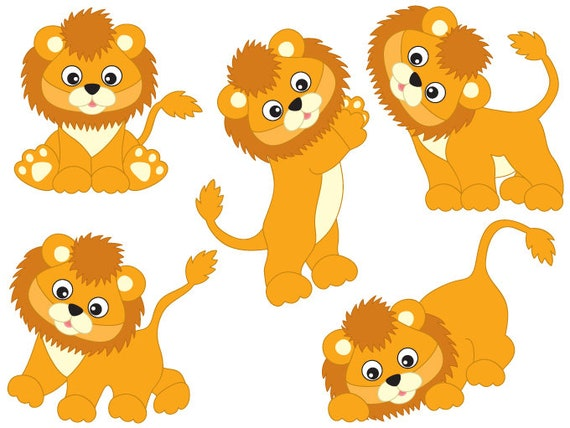 lions clipart digital vector safari african animal lion rh etsy com baby lion king clipart cute baby lion clipart