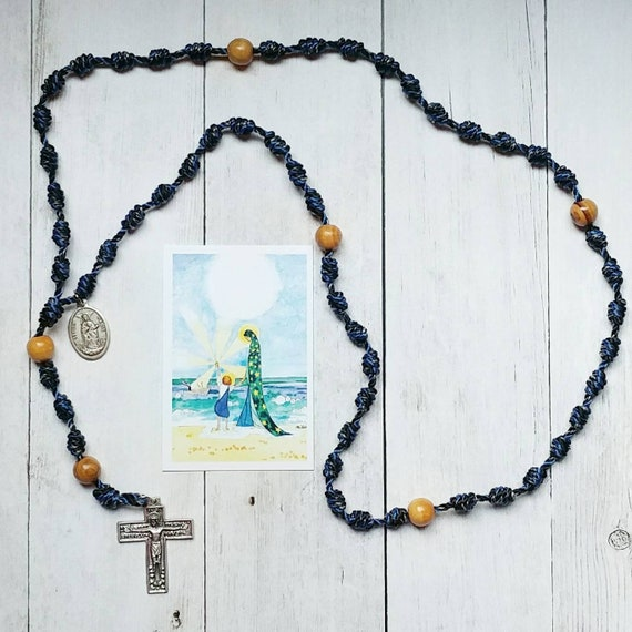 Stella Maris, Mary Star of the Sea Twine Knotted Rosary with renaissance crucifix, medal, and prayer card