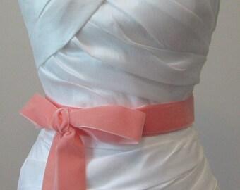 Coral Velvet Ribbon, 1.5 Inches Wide, Peach Ribbon Sash, Apricot Bridal Sash, Wedding Belt, 4 Yards