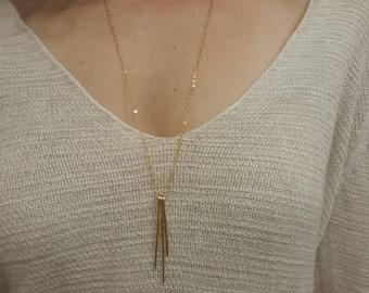 Gold Fringe Necklace, Bar Necklace, 14 K Gold Filled, Long Necklace
