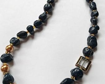 Vintage inspire Navy nugget Necklace