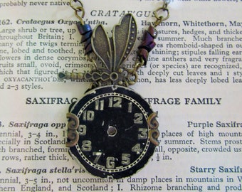 Steampunk Dragonfly Vintage Clock Face Necklace Brass Wings
