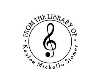 treble clef musical note from the library of Rubber Stamp Bookplate ex libris