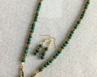 Malachite Green Necklace and Earrings