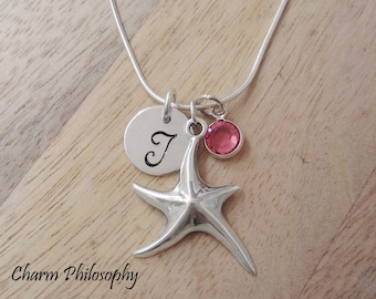 Starfish Necklace - 925 Sterling Silver Jewelry - Personalized Initial and Birthstone - Starfish Pendant
