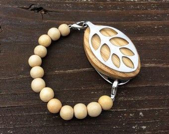 SALE ITEM!!! Natural Wood Mala bead bracelet for the LEAF by Bellabeat