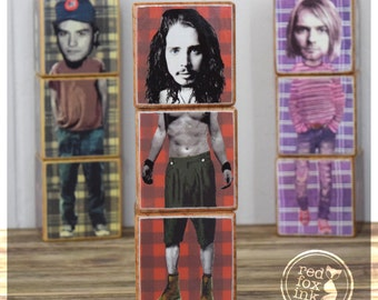 MusicBlocks - GRUNGE edition Iconblocks featuring Kurt Cobain, Eddie Vedder, Chris Cornell, Layne Staley, Scott Weiland + Mike Patton