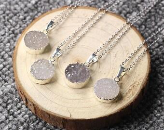 SALE Round Agate Druzy Necklace Handmade Drusy Geode Necklace wedding dainty party birthday jewelry druzzy DJ-1