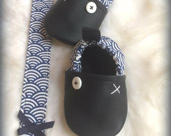 shoes 0/6 months baby blue leather (size 18) pattern waves Japanese ideal baby boy gift