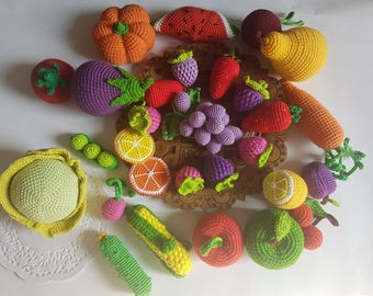 Big set 60 crochet fruits and vegetables Toys kitchen Play food Pretend play Organic toys Baby toy Montessori Toy food Waldorf toy