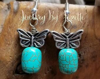 Turquoise butterfly dangle earrings