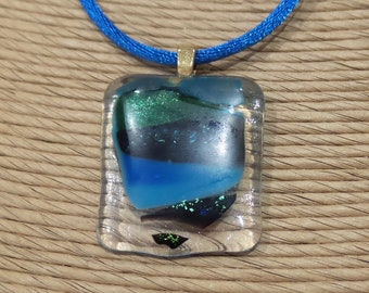 One of a Kind Pendant, Blue Green and Transparent Fused Glass Necklace, Ready to Ship, Gift for Girl or Guy - Scenic View -1580-2