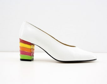 Size 7: Vintage White Pump with Rainbow Heel Retro Woman's High Heels / Shoes / Footwear