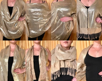 Gold Magic Convertible Scarf:poncho/kimono/shawl/flyaway vest/infinity scarf/head scarf/beach cover-up/festival clothes-Upcycled fashion!