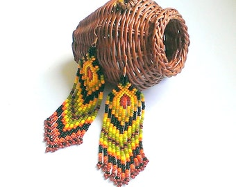 Statement Jewelry Fringe earrings Ethnic style beaded jewelry Native style  earrings Seed bead earrings Boho Earrings Indian earrings Beads