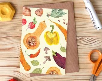 Vegetable Pattern Greetings Card, Foodie Card, Kitchen Garden Card