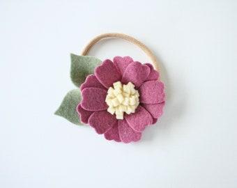 THE PIPER felt flower headband in Plum