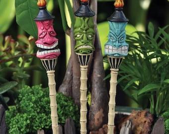 Fairy Garden Dollhouse Miniature Set of 3 Tiki Torch Stakes