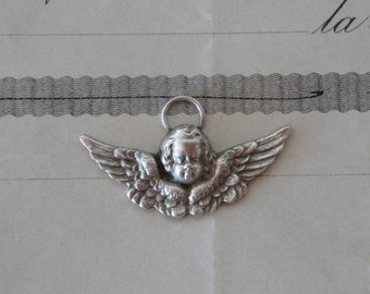 Antique French Highly Detailed Silver Cherub Angel Charm Pendant