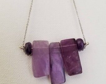 Amethyst Chip and Bead Necklace, Amethyst Shard Crystal Necklace, Silver Chain Necklace, Healing Crystals, Purple Amethyst Crystal Pendant