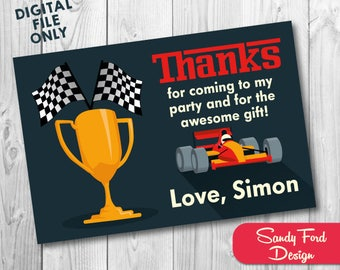 Race Car Thank You Card, Formula One Printable Thank you, Race Car Party Supplies DIGITAL FILE