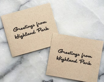 Greetings From Highland Park, set of 4 cards with envelopes