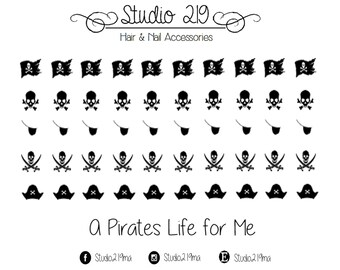 A Pirates Life for Me Waterslide Nail Decals