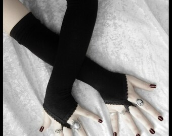 Pirouette Arm Warmers - Black - Fingerloops - Gothic Wedding Regency Belly Dance Victorian Vampire Caberet Goth Burlesque Yoga Opera Evening