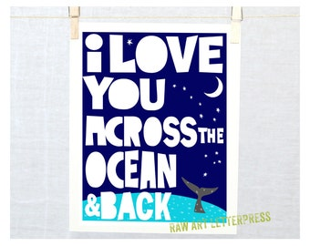 Valentine's Day, I Love You, Ocean, Beach Cottage Decor, Ocean Theme, Mother's Day, Nursery art print , Mothers Day,