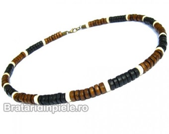 Men Wood Necklace Surfer Necklace Tribal Jewelry Men Bead Necklace