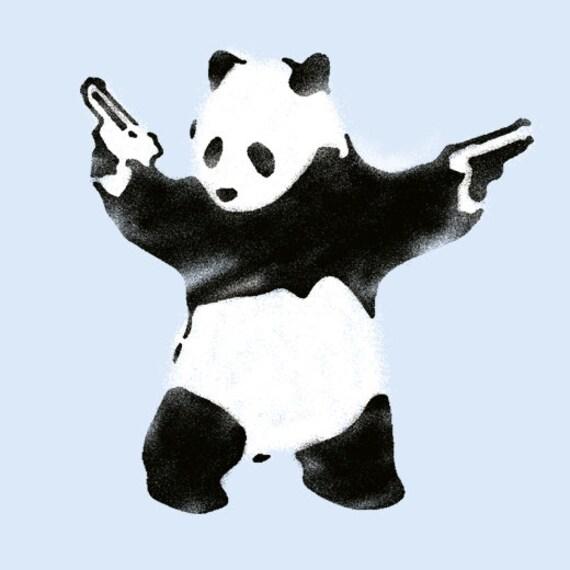Schablone Wandmalerei banksy schablonen pandamonium panda guns schablone