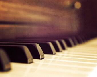 Piano photograph, Music room decor, Piano key art, Music art, Music decor, Gifts for Musicians, Music home decor// Vintage Piano No.1 ~ Keys
