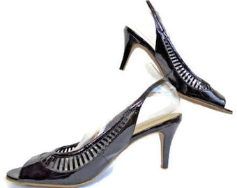 Kelly And Katie Size 10 Med Black Patent Leather Slingback Open Toe Pump