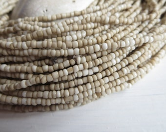MINI beige seed beads, ivory cream glass beads opaque rustic color organic tube barrel spacer  indonesian 1 to 2mm /44 inches, 5A1-3