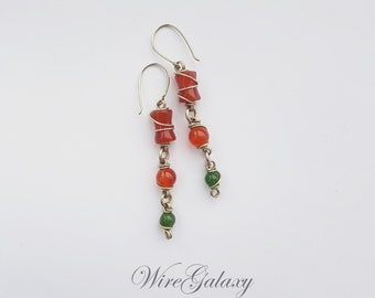 Long earrings Red Beaded Wire Wrapped Earrings for Women Everyday Simple earrings Wire wrap earrings Handmade jewelry Carnelian Chrysoprase