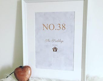 Rose Gold & Marble New Home Personalised Frame