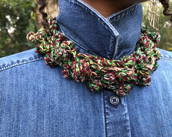 KC Pearls - Crochet Necklace/Choker Necklace/Headband/Belt/Yarn Accessory in Red Black & Green with Silver metallic/RGB Silver