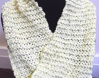 Mobius scarf / cowl in lemon with gold thread