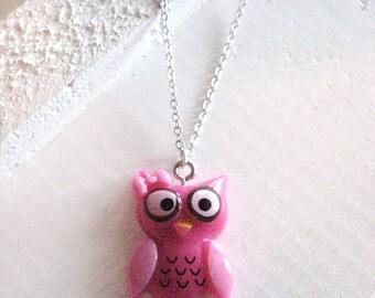 Owl Necklace, pink owl necklace, pink owl, yellow owl, purple owl, gift for girl, girls owl necklace, gift for her, Christmas